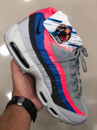 air max 95 cinza azul e rosa