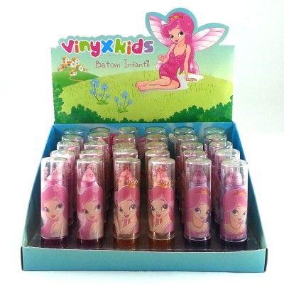 Display Batom Infantil Vinyx Kids com 30 unidades Cores Sortidas  Display
