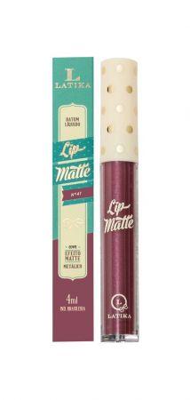 Batom Liquido Metalico Vinho 41 4ml&n... Batom Latika Lip Metalico Vinho N° 41