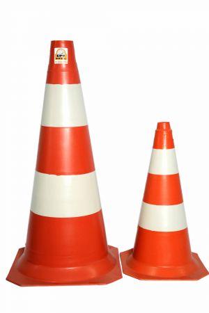 Cone PVC laranja e branco 75cm/50 cm