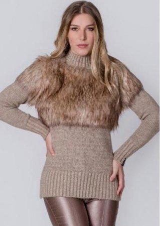 9f3cf79f7 <p>Blusa de lã Biamar - Bege ...