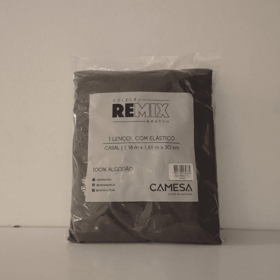 Lençol de Elástico Sortido 100% Algodão REMIX Casal - Camesa    Cinza Casal