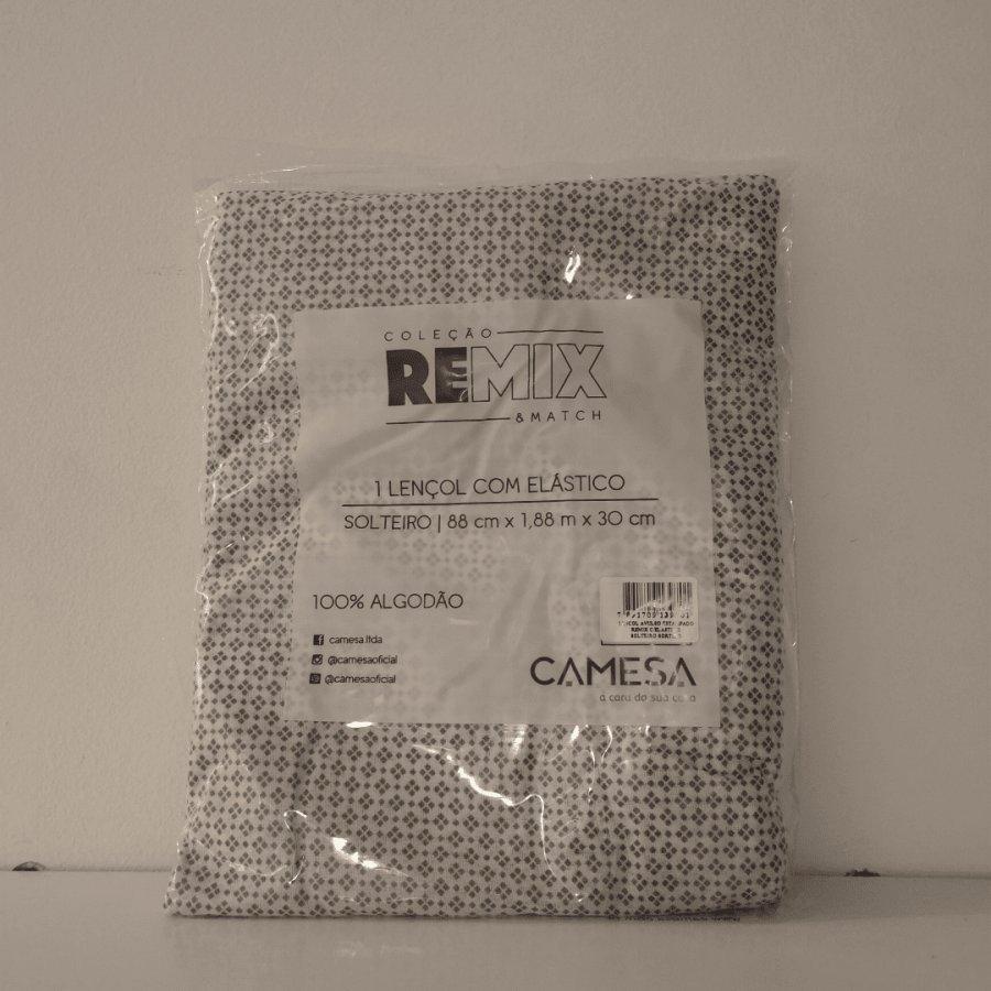 Lençol de Elástico Estampado 100% Algodão Remix Solteiro - Camesa  Cinza Solteiro