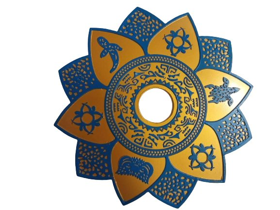 Prato Narguilé Ébano Azul e Dourado