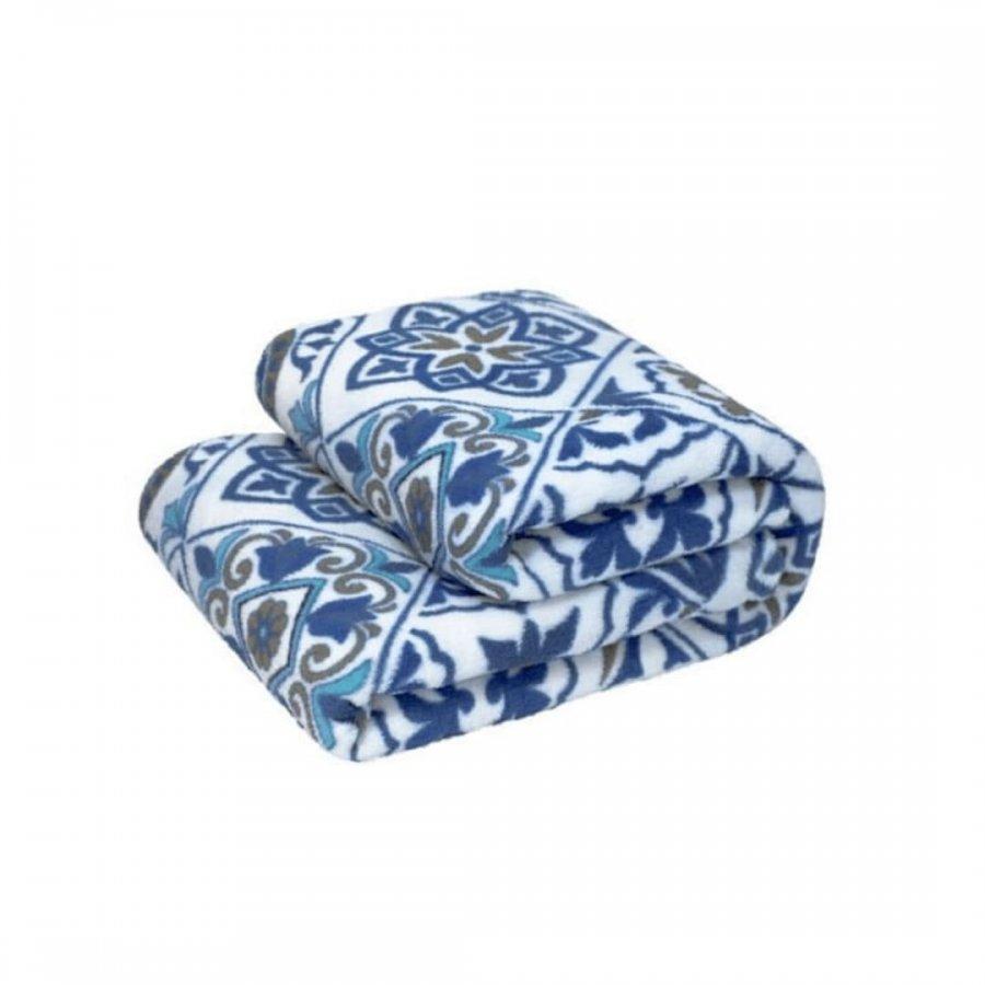 Cobertor Microfibra Solteiro REMIX   AZULEIJO